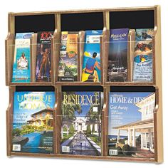 "Safco SAF5703MO Expose Adj Magazine/Pamphlet 6-Pocket Display 29-3/4"" x 2-1/2"" x Medium Oak Office Furniture Literature Display Cases Magazine Racks"