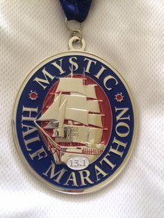 Mystic Half Marathon medal in Mystic, Connecticut - 2016 bling photos - half marathon medal photos taken by Fifty States Half Marathon Club members www.50stateshalfmarathonclub.com
