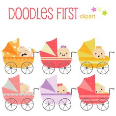 This clip art set includes the following:  6 x Baby Girls In Strollers  Each clipart illustration is included separately as a high resolution PNG file with a transparent background, a JPG with a white background and as as editable SVG file.  Each object is provided at a sizes of 5.5 Inches on its longest side. The PNG makes it versatile to scale for any project.  No watermarks will appear on purchased items.  The purchased clip art that will be provided is much higher quality that what you…