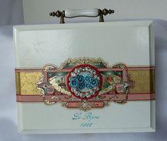 ddf4ab6c06 Vintage  cigar box  purse  white n gold  luxury couture  blue roses  OOAK   La Marelle Couture