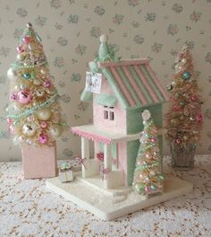 Shabby Pink n Mint Christmas Cottage - w/ Bottle Brush Trees