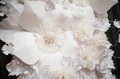 White Wedding  Paper Flower Door Decor.