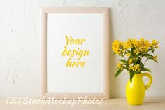 Frame mockup with yellow pitcher by TSTStockMockupPhotos on @creativemarket