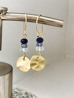 Gold Coin Earrings Aquamarine Earrings Lapis Lazuli Earrings Gemstone Earrings  Minimalist  Earrings  Dainty Earrings Gold Disc Earrings