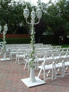 Victorian Lamps wrapped with flower garlands - Glendale Civic Center - perfect for twilight weddings
