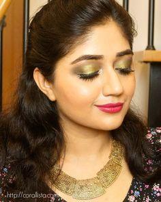 Makeup Look - Metallic Green Eyes with Berry Lips