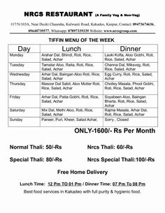 Annpurna tiffin service only per tifin call now for hot deal whatsup Tiffin Menu, Tiffin Box, Lauki Kofta, Tiffin Service, Weekly Menu Planners, Menu Planning, Business Ideas, Catering, Counter