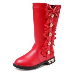 GIY Little Girl's mid calf Leather Zip-Up Winter Boots. Rubber sole. man made material. Side zipper closure. Easy on and off. Non-toxic materials.