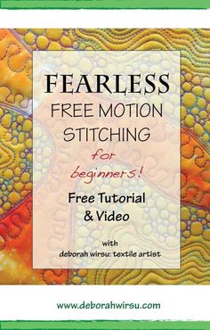 Sewing Tutorials For Beginners Fearless free motion stitching for beginners video tutorial Freehand Machine Embroidery, Free Motion Embroidery, Free Machine Embroidery, Free Motion Quilting, Longarm Quilting, Quilting Classes, Quilting Stencils, Quilting For Beginners, Quilting Tutorials