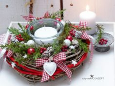 Advent wreath Herzl natural wreath of twigs arranged with deco-conifers, red … - Xmas - Christmas Noel Christmas, Christmas Candles, Simple Christmas, Christmas Wreaths, Christmas Crafts, Advent Wreaths, Handmade Christmas, Christmas Stockings, Easy Christmas Decorations