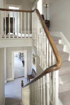 Staircase - DMVF were approached by the owners of this detached late Victorian house in order to undertake a full restoration and extension of their home. Restoration works included new timber framed sash windows throughout, refurbishment of plaster finishes and cornicing, new heating, wiring and plumbing throughout. New decorative finishes throughout the interior were provided and extensive upragding to the landscaping of the gardens. www.dmvf.ie. Photo by MarkScott.
