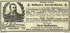 Original-Werbung/ Anzeige 1903 - HOFFMANN'S EINREIBE - BALSAM - BERLIN - Ca. 100 X 45 Mm - Werbung