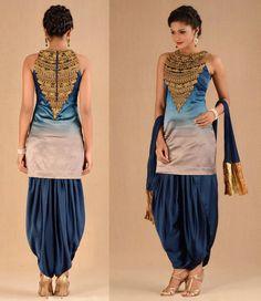 Cocktail Suit Set Blue By Jaspreet Indian Suits, Indian Attire, Indian Dresses, Indian Wear, Indian Clothes, India Fashion, Asian Fashion, Patiyala Dress, Designer Punjabi Suits