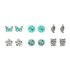 Sparkly Nature Stud Earrings Set of 6. Claires store. I love all of them!