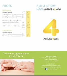 Remember our new Xercise4Less Hamilton clinic is now open see our price list below. Feel free to pop in for a chat, or call 01236 702079.