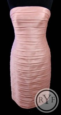 New Carmen Marc Valvo Pink Silk Sleeveless Shutter Pleat Cocktail Dress s 2 | eBay