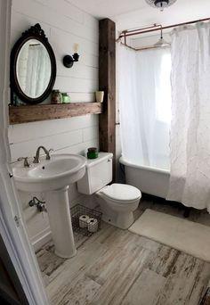 Luxury Small Farmhouse Bathroom Decor Ideas and Remoddel to Inspire Your Bathroom - Bathroom Ideas Bathroom Doors, Bathroom Rugs, Bathroom Interior, Modern Bathroom, Bathroom Ideas, Elegant Shower Curtains, Small Bathroom Colors, Home Depot, Decor Ideas