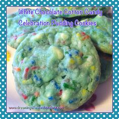 White Chocolate Cotton Candy Celebration Pudding Cookies