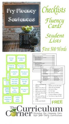 Fry Fluency Sentences, Checklists and Reading Lists - First 500 Fry Words Reading Help, Reading Skills, Teaching Reading, Reading Lists, Guided Reading, Teaching Ideas, Reading Resources, Close Reading, Reading Room