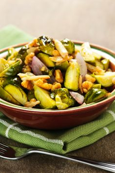 Garlic Roasted Brussel Sprouts with Onions & Walnuts
