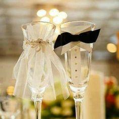 Cute wedding champain glasses