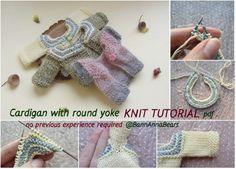 Best 12 Knit mini cardigan for toy PATTERN, Blythe knit sweater tutorial, Toy sweater pattern, Waldorf doll Circular Knitting Needles, Knitting Stitches, Cardigan Pattern, Knit Cardigan, Purl Stitch, Waldorf Dolls, Doll Clothes Patterns, Yarn Colors, Stuffed Toys Patterns
