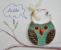 ceramic owl ornament by Janet Burns