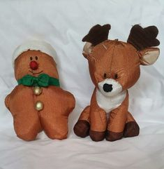 GIBSON GREETINGS CHRISTMAS Reindeer/Gingerbread Plush Ornaments Nylon/Cloth Nylons, Christmas Greetings, Reindeer, Gingerbread, Plush, Xmas, Teddy Bear, Ornaments, Animals