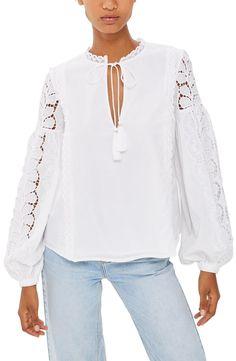 519758949d891 topshop lace sleeve poet blouse Cotton Blouses