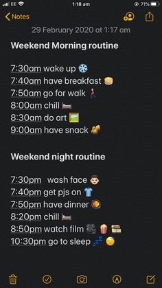 Weekend morning and night routine, Morning Routine School, Healthy Morning Routine, School Routines, Night Routine, Daily Routine Schedule, Routine Planner, Night Before School, Bored Jar, Healthy Nights