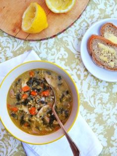 Chicken, Freekeh, silverbeet and lemon soup