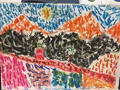 PAISATGE VAN GOGH - Material: paper, aquarel·la, pinzells, paper, colors, ceres toves - Nivell: 2PRIM CI 2015/16 Escola Pia Balmes