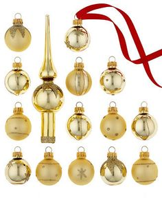 Kurt Adler Set of 15 Mini Ornaments with Gold Tree Topper
