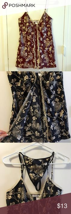 Victoria's Secret baby doll with matching vstring Black and gold satin open front tie baby doll. Matching vstring. Victoria's Secret Intimates & Sleepwear Chemises & Slips