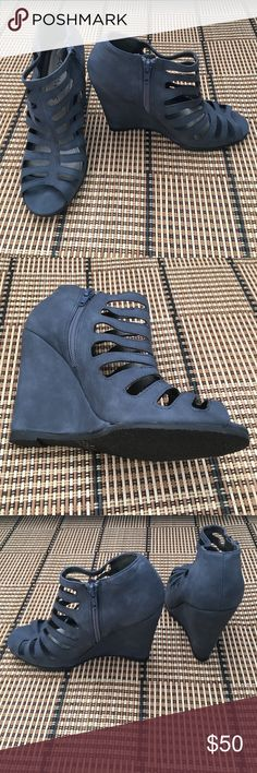 """*Brand New* gorgeous blue wedges These are brand new without the original tags or box. They have never been worn. There are no markings for the size but I'm guessing it's a 7.5 based on the fit. Looks to be about a 4"""" wedge height. Coconuts Shoes Wedges"""