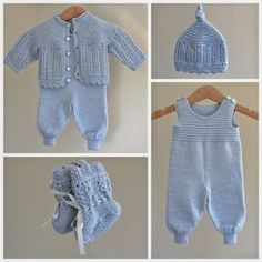 Ravelry: Kirstisi's Hentesett I Blått - Diy Crafts - maallure Baby Dungarees, Baby Jumpsuit, Baby Dress, Romper, Knitted Baby Cardigan, Knitted Baby Clothes, Sirdar Knitting Patterns, Knit Patterns, Layette Pattern