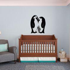 Penguin Family with Baby - Vinyl Wall Art Decal for Homes, Kids Rooms, Nurseries, Preschools, Kindergartens, Elementary Schools, Middle Schools, High Schools, Universities, Colleges