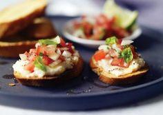 Bruschetta with White Bean Paste, Tomato Chutney, and Reduced Balsamic Glaze