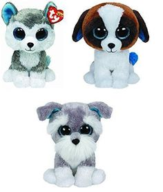 Ty Slush Duke Whiskers Dogs Set of 3 Beanie Boos Stuffed Animal Plush Toy