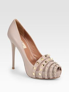 Valentino Rockmance Nappa Leather Peep Toe Pumps