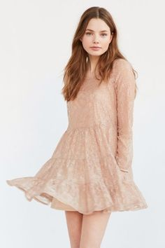 Kimchi Blue Nude Lace Tiered Dress - Urban Outfitters