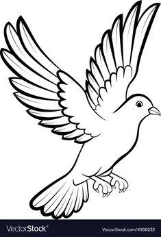 40 Ideas dove bird logo design for 2019 Outline Drawings, Bird Drawings, Art Drawings Sketches, Easy Drawings, Animal Drawings, Sketches Of Birds, Dove Sketches, Vogel Silhouette, Bird Silhouette Art