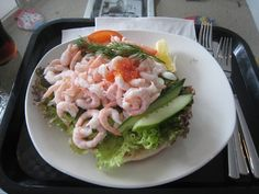 A delicious räksmörgås, a traditional Swedish shrimp sandwich, from Buhres Fisk in Kivik, Sweden.