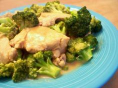 ☺ Broccoli Chicken Dijon (South Beach Diet) ☺  Low Carb, Low Fat, Low Calorie, High in Protein! GREAT meal for those watching their waistlines!  Servings: 4  1/2 cup reduced-sodium chicken broth 1 tablespoon light soy sauce 4 cups broccoli florets 1 garlic clove, minced 1 tablespoon olive oil 1 lb boneless skinless chicken breast, cut into thin strips 2 tablespoons Dijon mustard  1 Mix chicken broth and soy sauce; set aside. 2 Cook and stir broccoli and garlic in hot oil in large skillet on…