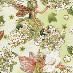 New Morning Garden Flower Fairy fabric. I love the colors in this fabric. You could easily decorate an entire girl's bedroom around it.