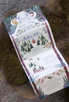 Progettazione grafica e illustrazione per un invito di matrimonio