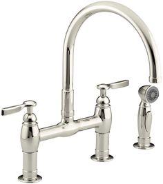 polished nickel port haven bridge kitchen faucet - gt31-tdd - 1