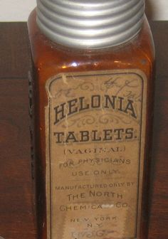 "Helonia vaginal tablets with opium. These were inserted into the vagina to cure the embarrassing problem of Leukorrhea, vulgarly known as ""the whites.""  It refers to vaginal discharge, which is usually normal, but not appreciated in olden days. I'm not sure stuffing opium in your vagina would help, but then again I'm not an old-timey medicine show man. So what do I know?"