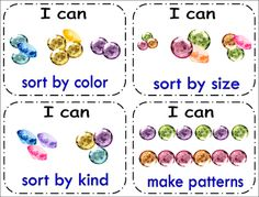 FREEBIE - use jewels as a math center, then use these labels for ideas on what the Kinders can do!