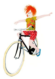 illustration of a little girl on a bicycle #robertwagt